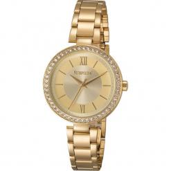 """Zegarek """"Elite"""" w kolorze złotym. Żółte, analogowe zegarki damskie METROPOLITAN, metalowe. W wyprzedaży za 173,95 zł."""