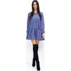 Granatowa Sukienka Luźna Oversizowa Mini na Długi Rękaw. Szare długie sukienki marki bonprix, melanż, z dresówki, z kapturem, z długim rękawem. Za 119,90 zł.