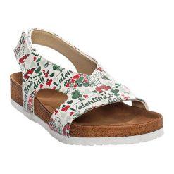 Sandały damskie: Sandały w kolorze szarym ze wzorem