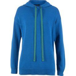 Swetry klasyczne damskie: Sweter dzianinowy z kapturem bonprix lazurowy