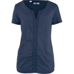 Bluzka bawełniana, krótki rękaw bonprix ciemnoniebieski. Niebieskie bluzki asymetryczne bonprix, z bawełny, z krótkim rękawem. Za 32,99 zł.