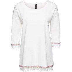 Swetry klasyczne damskie: Sweter z szydełkową plisą bonprix biel wełny