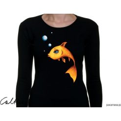 Złota rybka - damska koszulka z długim rękawem. Żółte t-shirty damskie Pakamera, z długim rękawem. Za 79,00 zł.