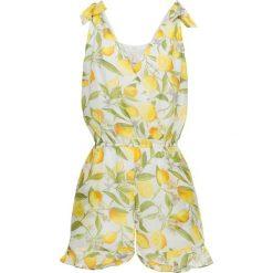 Kombinezony damskie na lato: Kombinezon bonprix biało-żółty z nadrukiem