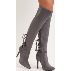Ciemnoszare Kozaki Isha. Szare buty zimowe damskie marki Born2be, ze szpiczastym noskiem, na wysokim obcasie, na szpilce. Za 99,99 zł.