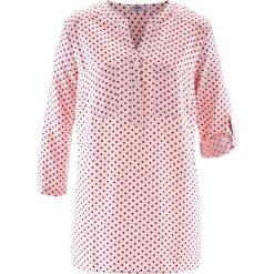 Bluzki damskie: Bluzka z rękawami 3/4 bonprix pastelowy jasnoróżowy - czerwony klonowy w groszki