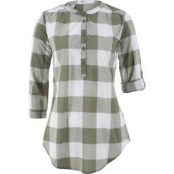 Tunika koszulowa w kratę bonprix oliwkowo-biały w kratę. Niebieskie tuniki damskie marki bonprix, z koszulowym kołnierzykiem, z krótkim rękawem. Za 54,99 zł.