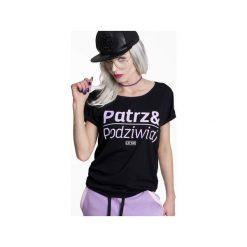 Koszulka Patrz i podziwiaj!. Czarne bluzki asymetryczne ŁAP NAS, l, z nadrukiem. Za 89,00 zł.