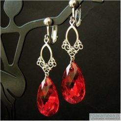 Biżuteria i zegarki: Czerwone klipsy kryształ Swarovski – Nindanao