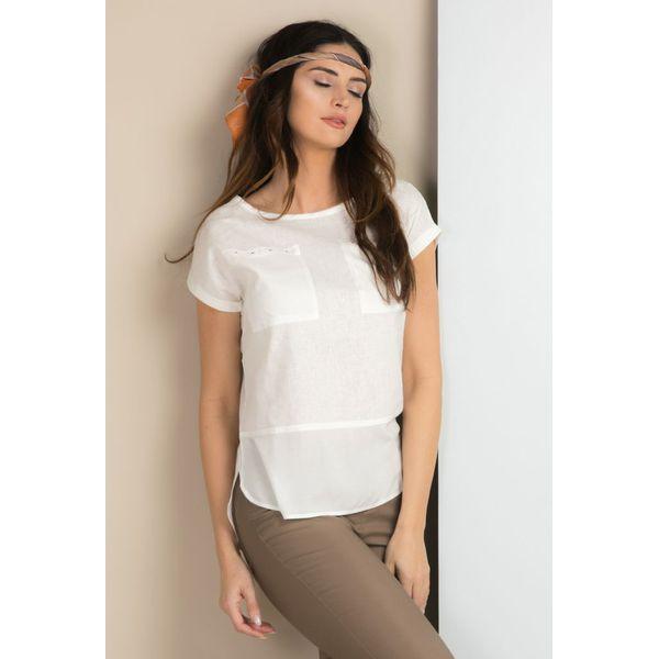 807acebe8d Lniana bluzka z kieszonkami - Szare bluzki damskie Monnari