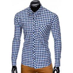 KOSZULA MĘSKA W KRATĘ Z DŁUGIM RĘKAWEM K422 - BEŻOWA/NIEBIESKA. Brązowe koszule męskie na spinki marki Ombre Clothing, m, z aplikacjami, z kontrastowym kołnierzykiem, z długim rękawem. Za 49,00 zł.