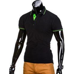 KOSZULKA MĘSKA POLO BEZ NADRUKU S666 - CZARNA. Czarne koszulki polo marki Ombre Clothing, m, z bawełny, z kapturem. Za 39,00 zł.