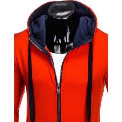 BLUZA MĘSKA ROZPINANA Z KAPTUREM B485 - CZERWONA/GRANATOWA. Czarne bluzy męskie rozpinane marki Ombre Clothing, m, z bawełny, z kapturem. Za 39,00 zł.