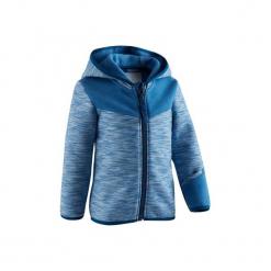 Bluza na zamek z kapturem Gym & Pilates 500 dla maluchów. Niebieskie bluzy niemowlęce DOMYOS, z elastanu, z kapturem. Za 54,99 zł.