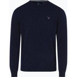 Gant - Sweter męski, niebieski. Niebieskie swetry klasyczne męskie GANT, m, z haftami, z wełny. Za 449,95 zł.