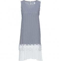 Sukienka z koronką w dolnej części bonprix niebiesko-biały w paski. Niebieskie sukienki koronkowe bonprix, na lato, w koronkowe wzory, z okrągłym kołnierzem, bez rękawów. Za 124,99 zł.
