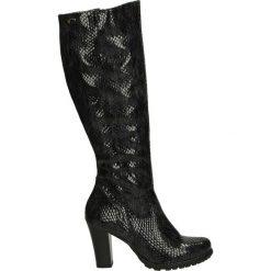Kozaki ocieplane - Z880-1 PIT GR. Czarne buty zimowe damskie marki Kazar, ze skóry, na wysokim obcasie. Za 299,00 zł.