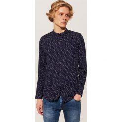 Koszula ze stójką - Granatowy. Niebieskie koszule męskie na spinki marki House, l, ze stójką. Za 79,99 zł.