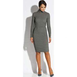 Sukienki: Szara Sukienka z Wycięciem na Plecach