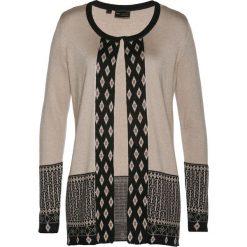Kardigany damskie: Sweter rozpinany z domieszką kaszmiru bonprix kamienisto-czarno-brązowy