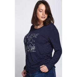 Granatowa Bluzka Your Style. Szare bluzki longsleeves marki Born2be, xl, z aplikacjami, z okrągłym kołnierzem. Za 34,99 zł.