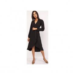 Asymetryczna, kopertowa sukienka, SUK160. Czarne sukienki asymetryczne Lanti, z asymetrycznym kołnierzem. Za 179,00 zł.