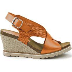 Sandały damskie: Skórzane sandały w kolorze pomarańczowym