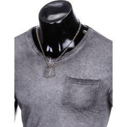 T-shirty męskie: T-SHIRT MĘSKI BEZ NADRUKU S674 – SZARY
