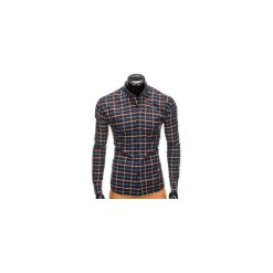 KOSZULA MĘSKA W KRATĘ Z DŁUGIM RĘKAWEM K399 - GRANATOWA/ZIELONA. Brązowe koszule męskie na spinki marki Ombre Clothing, m, z aplikacjami, z kontrastowym kołnierzykiem, z długim rękawem. Za 49,00 zł.