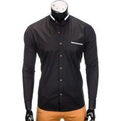 KOSZULA MĘSKA Z DŁUGIM RĘKAWEM K303 - CZARNA. Czarne koszule męskie na spinki Ombre Clothing, m, z bawełny, z kontrastowym kołnierzykiem, z długim rękawem. Za 39,99 zł.