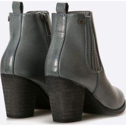 Medicine - Botki Inverness. Szare buty zimowe damskie MEDICINE, z materiału, z okrągłym noskiem, na obcasie. W wyprzedaży za 119,90 zł.