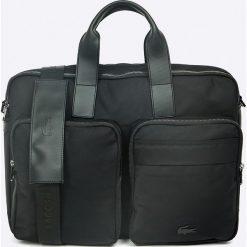 Lacoste - Torba. Czarne torby na laptopa Lacoste, w paski, z materiału. W wyprzedaży za 449,90 zł.