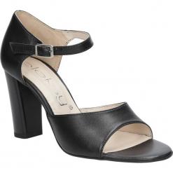 Czarne sandały skórzane na słupku Oleksy 2295/320/000/000/000. Szare sandały damskie na słupku marki Oleksy, ze skóry. Za 238,99 zł.