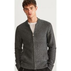 Sweter zapinany na zamek - Szary. Szare swetry rozpinane męskie marki bonprix, l, melanż. Za 119,99 zł.
