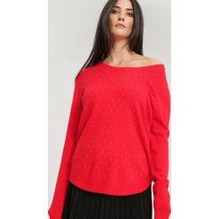 Swetry klasyczne damskie: Czerwony Sweter Bossy