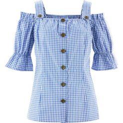 Bluzka w stylu ludowym, krótki rękaw bonprix błękitno-biały w kratę. Niebieskie bralety bonprix, z krótkim rękawem. Za 109,99 zł.