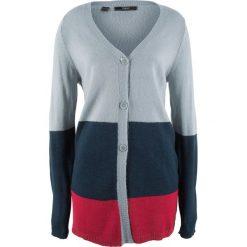 Sweter rozpinany, długi rękaw bonprix ciemnoniebieski w paski. Niebieskie kardigany damskie bonprix, w paski. Za 37,99 zł.