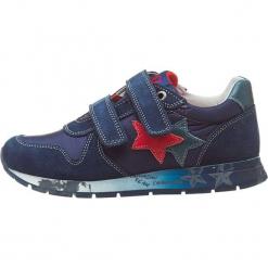 """Sneakersy """"Parker"""" w kolorze granatowym. Niebieskie trampki chłopięce Naturino, z aplikacjami, z materiału. W wyprzedaży za 172,95 zł."""