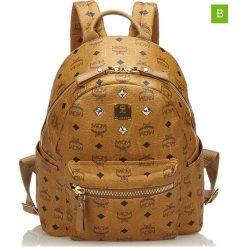 Plecaki damskie: Skórzany plecak w kolorze jasnobrązowym – 28 x 24 x 11 cm