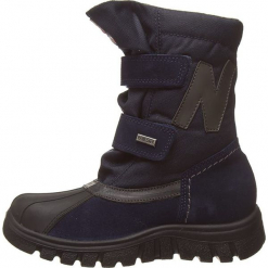 """Kozaki """"Himan"""" w kolorze granatowym. Niebieskie buty zimowe chłopięce Naturino, z materiału. W wyprzedaży za 215,95 zł."""
