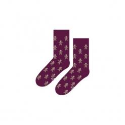 Świąteczne Pierniki - Skarpety. Brązowe skarpetki męskie Sox in the box, w kolorowe wzory, z bawełny. Za 25,00 zł.