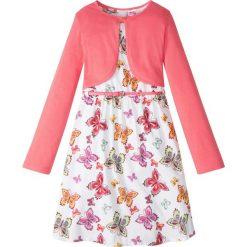 Sukienki dziewczęce: Sukienka + pasek + bolerko (3 części) bonprix biało-jasnoróżowy wzorzysty