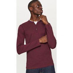 T-shirty męskie: Gładki t-shirt z długim rękawem – Bordowy
