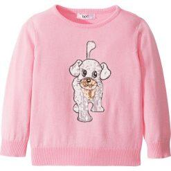 Sweter z cekinami bonprix pudrowy jasnoróżowy melanż. Czerwone swetry dziewczęce bonprix, z okrągłym kołnierzem. Za 44,99 zł.