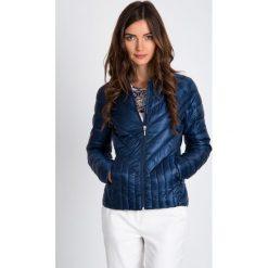 Odzież damska: Granatowa pikowana kurtka bez kaptura QUIOSQUE