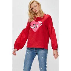 Trussardi Jeans - Bluza. Szare bluzy damskie marki Trussardi Jeans, l, z aplikacjami, z bawełny, bez kaptura. W wyprzedaży za 299,90 zł.