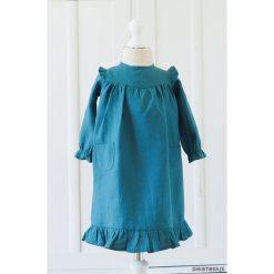 Sukienka w morskim kolorze z kieszeniami i falba. Zielone sukienki dziewczęce z falbanami Pakamera. Za 179,00 zł.