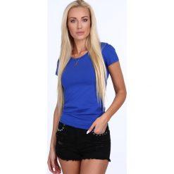 T-shirt dekolt półokrągły chabrowy 724. Niebieskie t-shirty damskie Fasardi, l. Za 39,00 zł.