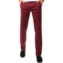 Chinosy męskie: Spodnie męskie chinos bordowe (ux1100)
