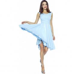 Błękitka Sukienka Koktajlowa z Szyfonu. Niebieskie sukienki balowe marki Molly.pl, na imprezę, l, z satyny, na ramiączkach, dopasowane. W wyprzedaży za 139,23 zł.